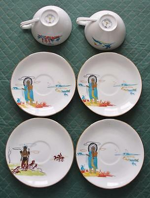 6 Acee Blue Eagle China Cups & Saucers Vintage Knox Oil