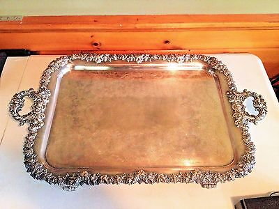 Large Silverplate Decorative Serving Tray With Grapevine Design