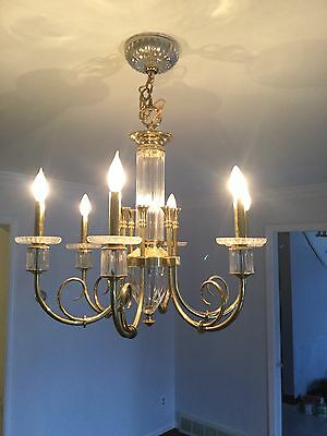 Crystal and brass  chandelier and wall sconces to match