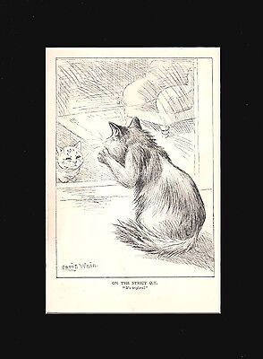 ANTIQUE Louis Wain Cats BIRTH ANNOUNCEMENT!  9 X 12 Matted Print 1912
