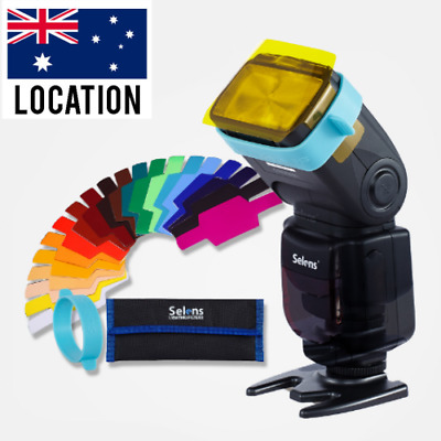 AU Selens 20 pcs Flash Speedlight Speedlite Color Gels Filter Kit w/ Gels Band