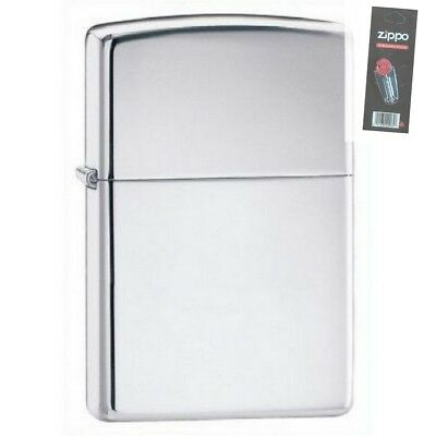 Zippo 250 high polish chrome Lighter + FLINT PACK