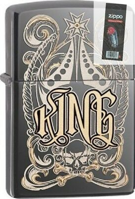 Zippo 28798 king-venetian design black ice chrome finish Lighter + FLINT PACK