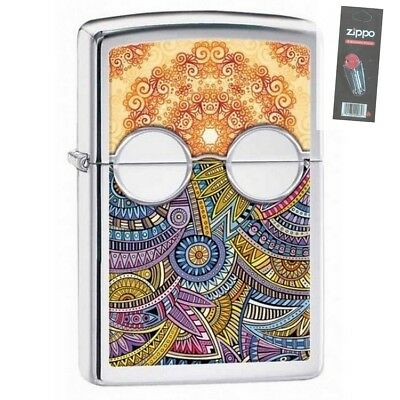 Zippo 28871 eclectic fusion high polish chrome finish Lighter + FLINT PACK