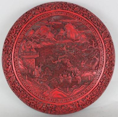Large Chinese Cinnabar Etched Round Box,