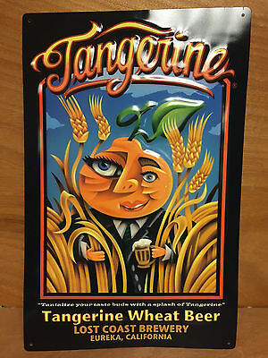 """Lost Coast Brewery Tangerine Wheat Beer Tin Sign ~ NEW & Free Shipping 17"""" x 11"""""""