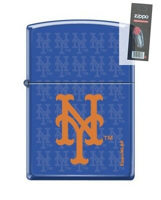 Zippo 0829 New York Mets Logo Royal Blue Matte Finish Lighter + FLINT PACK