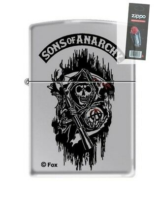 Zippo 1808 sons of anarchy high polish chrome full size Lighter + FLINT PACK