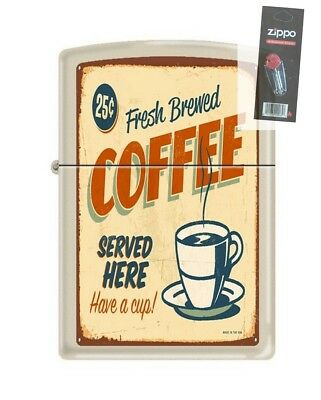 Zippo 207 COFFEE VINTAGE poster hot fresh brewed 25 cents Lighter + FLINT PACK