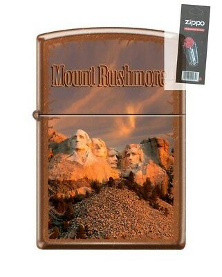 Zippo 21184 Mount Rushmore Washington Lincoln Jefferson Lighter + FLINT PACK