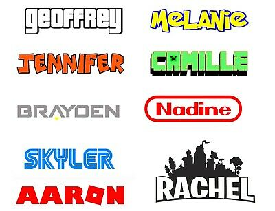 Video Game Personalized Name On Vinyl Decal Sticker Choose Size, Font And Color
