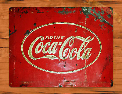 "TIN-UPS TIN Sign ""Old Coca Cola Cooler"" Vintage Soda Ad Garage Alcohol"