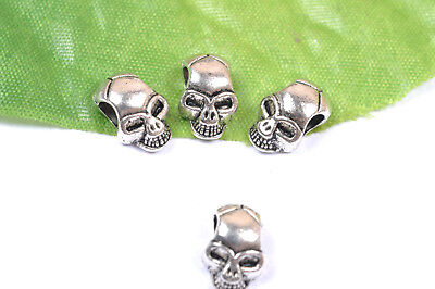 20/100Pcs Tibetan Silver skull charms Spacer Beads Jewelry Findings 12X8MM X809