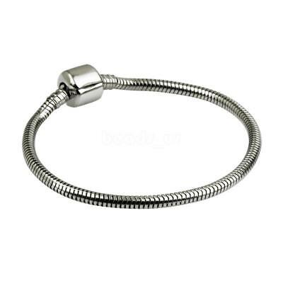 1PC Women Stainless Steel Snake Chain Charm Bracelet Fit European Beads Fashion
