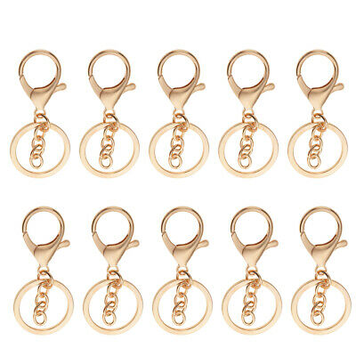 10pcs Lobster Snap Trigger Swivel Clips Hook Clasps Keychain Key Ring Plated