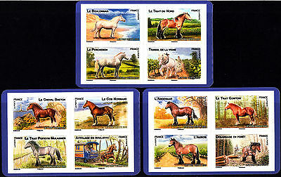 France 2013 Horses - Self Adhesive Stamps Blocks of 4 - Ex Booklet, MNH
