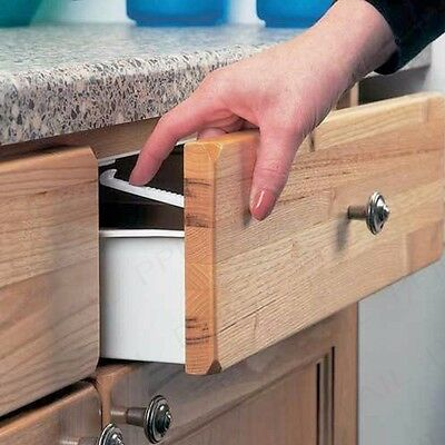 10x CHILD PROOF SAFETY DRAWER PUSH CATCH Kitchen Cupboard Door Lock Baby Secure