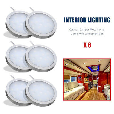 6x 12V Interior LED Spot Light Charger For Camper Car Caravan Motorhome VW T4 T5