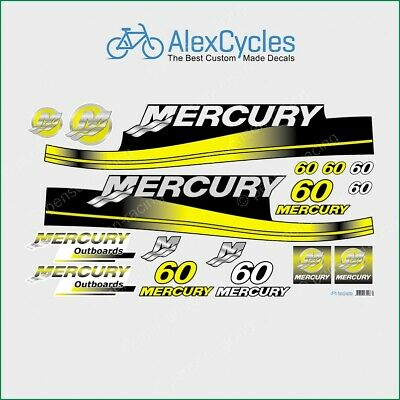 MERCURY 60 HP Outboard Replacement YELLOW Laminated Decals Kit Set Marine Boat