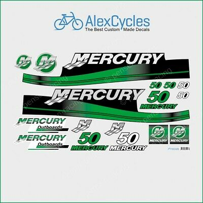 MERCURY 50 HP Outboard Replacement GREEN Laminated Decals Kit Set Marine Boat