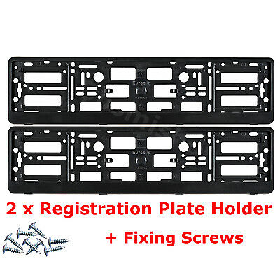 2x Black License Number Plate Holder Surround Frame for VOLVO Car + Fixing Screw