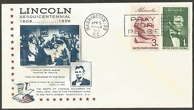 Us Cover 1959 Lincoln 1&3C Stamps The Death Of Lincoln Washington Sesq Cover