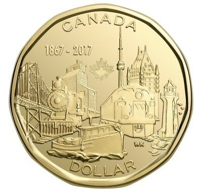 2017 Canada 150 1 Dollar Coin Loonie From Roll UNC Connecting A Nation
