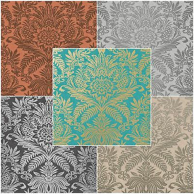 Crown Signature Damask Wallpaper Teal Ebony Grey Copper Feature Wall New