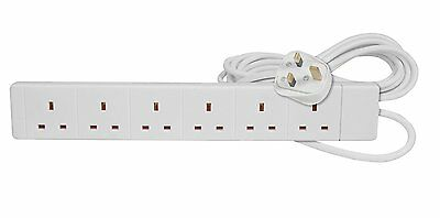 6 Way Gang Socket Power Mains Extension Lead 2M Metre Cable 13A Amps - White