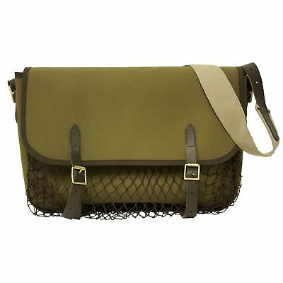 BISLEY Green canvas game bag - leather and brass fittings shooting hunting bag