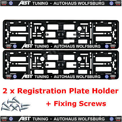 2 x Audi VOLKSWAGEN Car ABT AUTOHAUS Number Plate Holder Surrounds Frame + SCREW