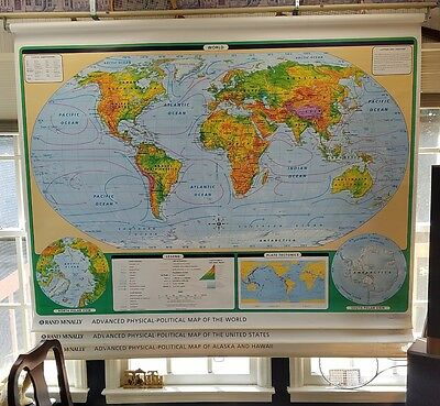School Map roll up Rand Mcnally LC-03 Advanced Physical -political of World ,etc
