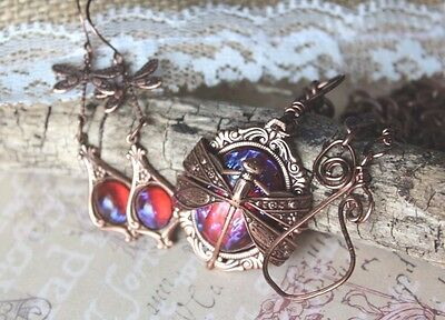 Dragonfly Necklace & Earrings Set Fire opal Copper Free US SHIP
