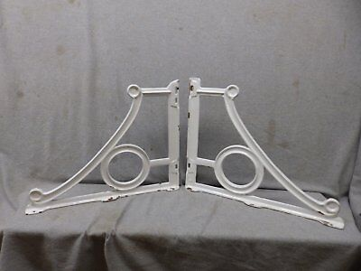 Pair Antique Cast Iron White Porcelain Sink Brackets Supports Vtg 16x20  352-17P