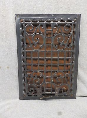 Antique Cast Iron Wall Ceiling Heat Grate Register Vent Old Vtg 12x8  353-17P