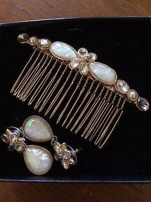 Bridal Hair Comb Pearl Crystal Opal Headpiece Hair Clip Pin & Earrings Wedding