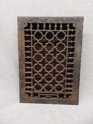 Antique Cast Iron Heat Grate Vent Register Gothic Decorative Vtg 12x8 357-17P