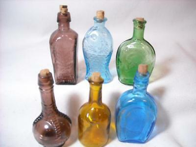 6 Vintage Miniature Bitters Glass Bottles W/ Corks Made In Taiwan