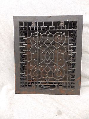 Antique Cast Iron Heat Grate Vent Register Gothic Decorative Vtg 12x10 358-17P