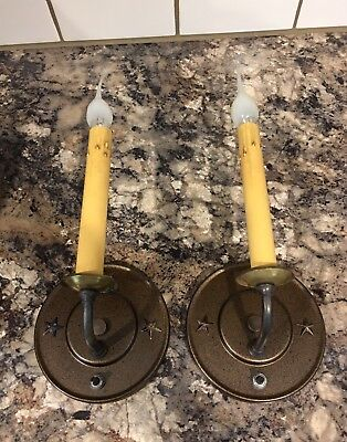 Beautiful Sconces Vintage Antique Wired Pair Electric Candles On Off Switch