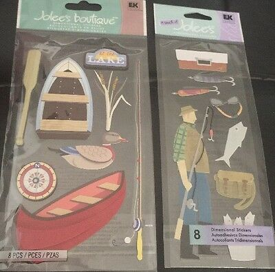 AT THE LAKE & FISHING Boat Pole TackleJolee's Boutique 3D Embellishments 2 Packs
