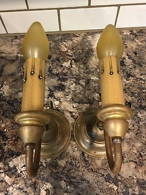 Beautiful Antique Brass Wall Sconce Fixtures Newly Wired Vintage House Home 10A