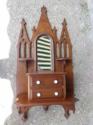 Antique Victorian Cathedral Religious Shape Walnut Wood Wall Shelf Hang Mirror