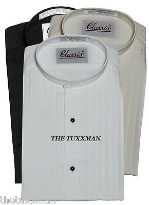New Mens White Banded Collar Tuxedo Shirt Nehru Pleated TUXXMAN Tux All Size
