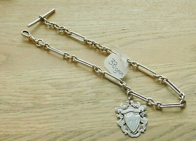 antique sterling silver watch chain and fob not scrap