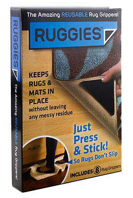 New Rug Carpet Mat Grippers Ruggies Non Slip Skid Reusable Washable Grips 8 Pcs