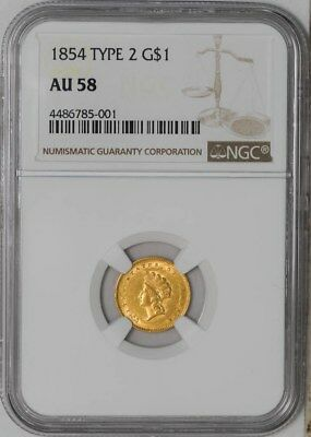 1854 Type 2 $ Gold Indian AU58 NGC