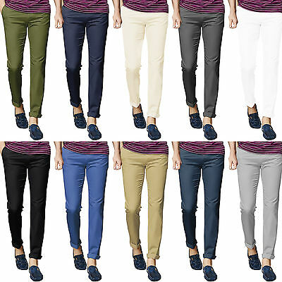 Mens Chino Trousers Stretch Stallion Slim Fit Cotton Jeans Casual Designer New