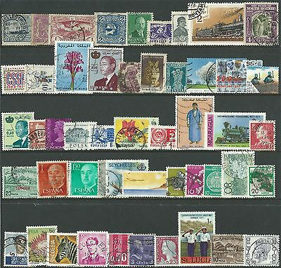 Used World Stamps Selection - 50 All Different, At Least 20 Different Countries