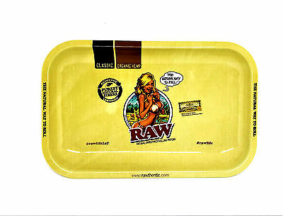 RAW Small Metal Rolling Tray 11in x 7in Rolling Paper Girl Logo Tobacco RYO NEW
